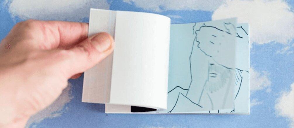 dettaglio del flipbook di Marco Guazzone per l'uscita del singolo prodotto da elisa toffoli illustrato da nico vecchione